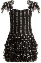 Valentino Polka Dot Silk Dress - Womens - Black White