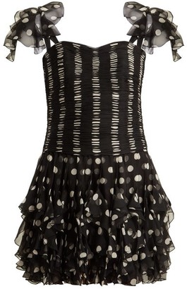 Valentino Polka Dot Silk Dress - Black White