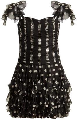 Valentino Polka Dot Silk Dress - Black White