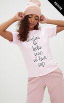 PrettyLittleThing Petite Pink 'Hello' Slogan T-Shirt