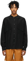 Rhude Black Linen Band Collar Shirt