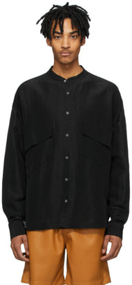 Rhude Black Linen Band Collar Shirt