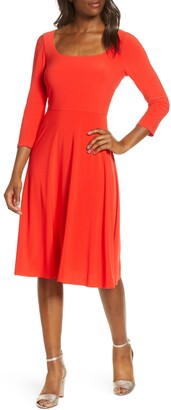 Eliza J Square Neck Fit & Flare Dress