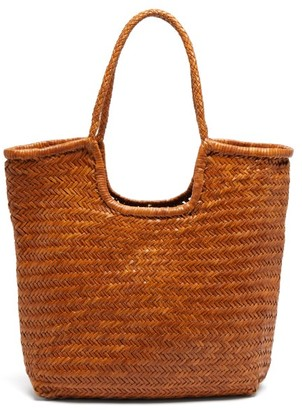DRAGON DIFFUSION Triple Jump Woven-leather Basket Bag - Tan