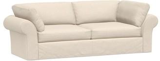 Pottery Barn PB Air Roll Arm Slipcovered Sofa - Textured Twill, Khaki