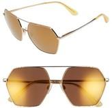 Dolce & Gabbana Women's 59Mm Mirrored Aviator Sunglasses - Gold