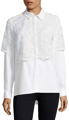 French Connection Lace Button-Down Shirt