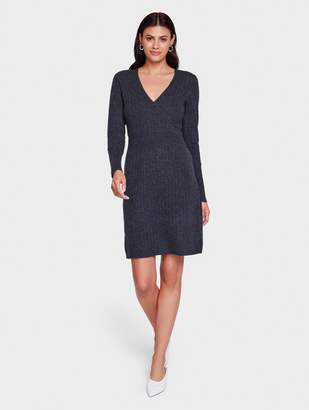 White + Warren Cashmere Wrap Effect Dress