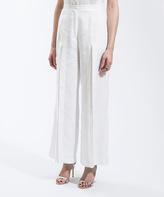 White Wide-Leg Linen Casual Pants - Plus Too