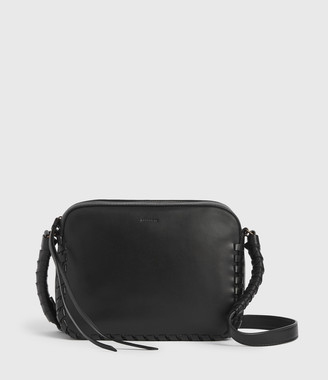 AllSaints Courtney Square Leather Crossbody Bag