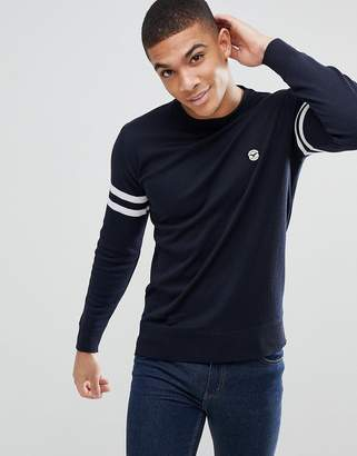 Le Breve Lightweight Knitted Sweater with Arm Stripe-Navy