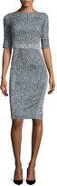 Lela Rose Half-Sleeve Seamed Sheath Dress, Navy