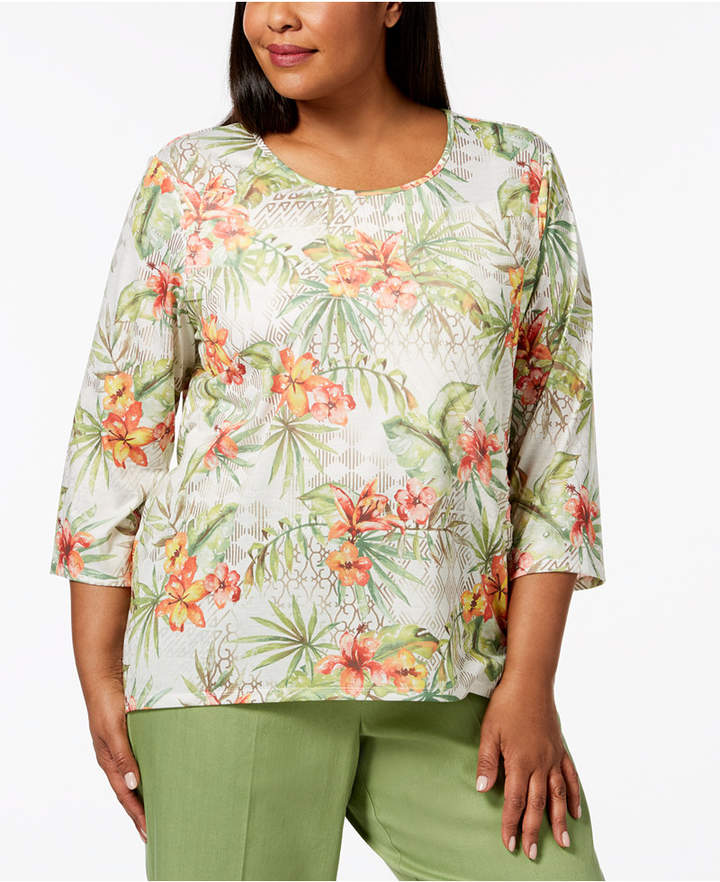 Alfred Dunner Plus Size Parrot Cay Tropical Floral-Print Top