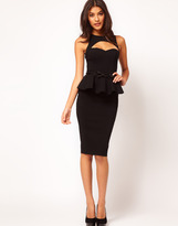 Asos Peplum Dress With Bow Belt