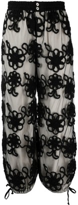Comme des Garcons Floral-Embroidered Loose Fit Trousers