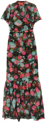 Erdem Ciella Tiered Floral-print Silk-chiffon Gown
