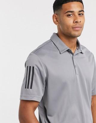adidas three stripe polo in grey