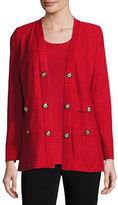Misook Textured Straight-Cut Knit Jacket, Classic Red