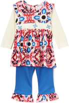 Baby Nay Red & Blue Geometric Frida Top & Ruffle Leggings - Infant