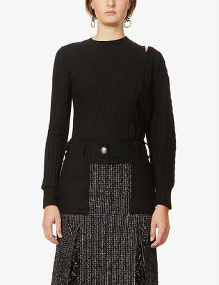 Sacai Two-tone cable-knit wool jumper