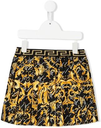 Versace Savage Barocco Print pleated skirt