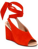 Derek Lam Maud Suede Ankle-Wrap Wedge Sandals
