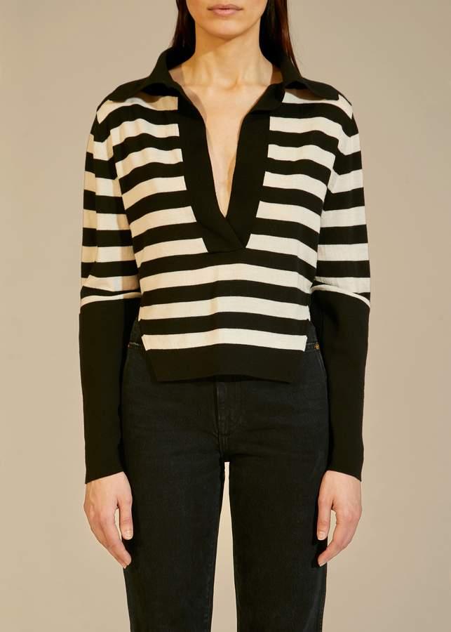 KHAITE The Ciel Sweater in Black and Cream Stripe