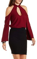 Charlotte Russe Mock Neck Cold Shoulder Top