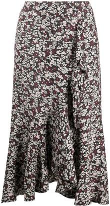 Ganni Floral-Print Ruffled Skirt