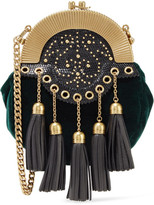 Miu Miu Embellished Textured Leather-trimmed Velvet Clutch - Emerald