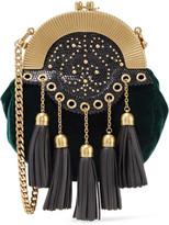 Miu Miu Embellished Textured Leather-trimmed Velvet Clutch