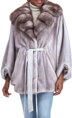 Gorski Mink Leather Belted Cape w/ Stone Marten Fur Collar