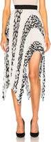 Proenza Schouler Printed Pleated Cloque Arched Asymmetric Skirt