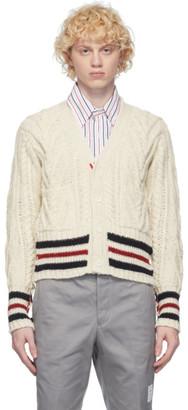 Thom Browne White Aran Cable Stripe Cardigan