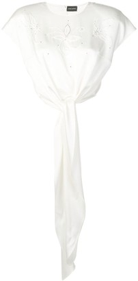 Magda Butrym Beaded Front Knot Blouse