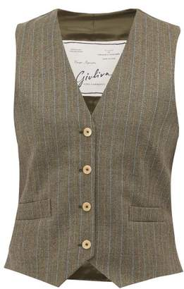 Giuliva Heritage Collection The Andrea Pinstriped Wool Waistcoat - Womens - Grey Multi