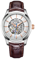 Rotary Gs05032/06 Mécanique Skeleton Leather Strap Watch, Brown/silver