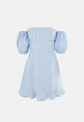 Missguided Blue Stripe Tie Back Ruffle Hem Dress