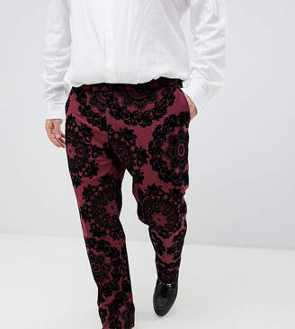 Twisted Tailor super skinny suit trouser with contrast flocking-Red