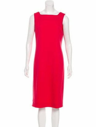 Oscar de la Renta Sleeveless Midi Dress Coral
