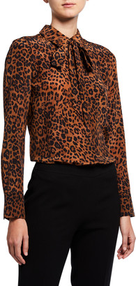 Lafayette 148 New York Diana Leopard Printed Silk Tie-Neck Blouse