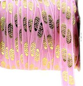 "Midi Ribbon Stretch Gold Boho Feather Printed Fold Over Elastic Band 5/8"" X 10 Yards/Pack- Color-Handmade Hair Tie Headband Ponytail Holder Sewing Supplies"