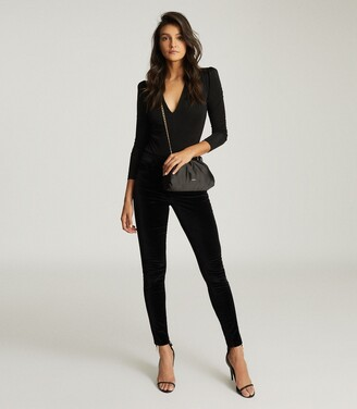 Reiss Valeria - Long Sleeved Plunge Bodysuit in Black