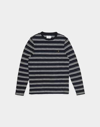 Farah Stripy Long Sleeved Striped T-Shirt Navy