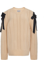 Molly Goddard Blanche Ribbon-Detailed Pointelle-Knit Wool Sweater