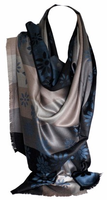 Bullahshah Self-Embossed Floral Daisy Print Reversible Two Sided Beige Grey Stripes Pashmina Feel Scarf Wrap Shawl Stole Head Scarves (Blue)
