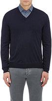 Barneys New York Men's Wool V-Neck Sweater-NAVY