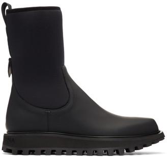 Dolce & Gabbana Black Vulcano Chelsea Boots