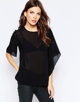 French Connection Asymmetric Top in Horizon Georgette