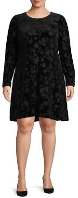 Calvin Klein Plus Long Sleeve Velvet Burnout Dress